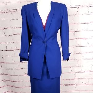Christian Dior Royal Blue Wool Skirt Suit